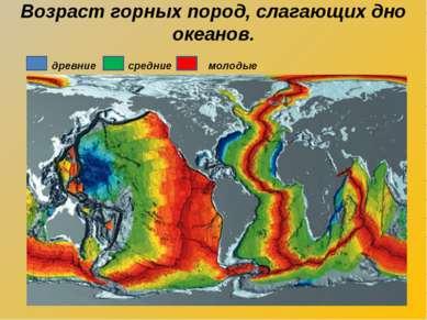 Возраст горных пород, слагающих дно океанов. древние средние молодые