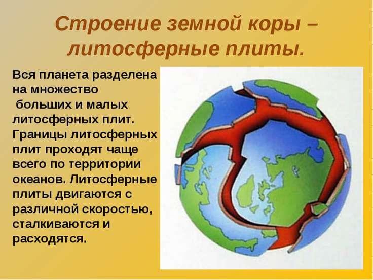 Строение земной коры – литосферные плиты. Вся планета разделена на множество ...