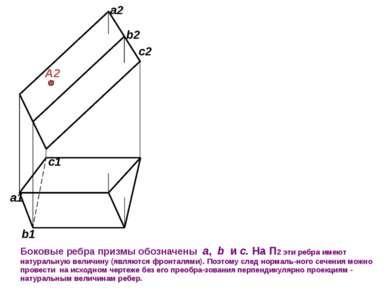 a2 b2 c2 А2 Боковые ребра призмы обозначены a, b и c. На П2 эти ребра имеют н...