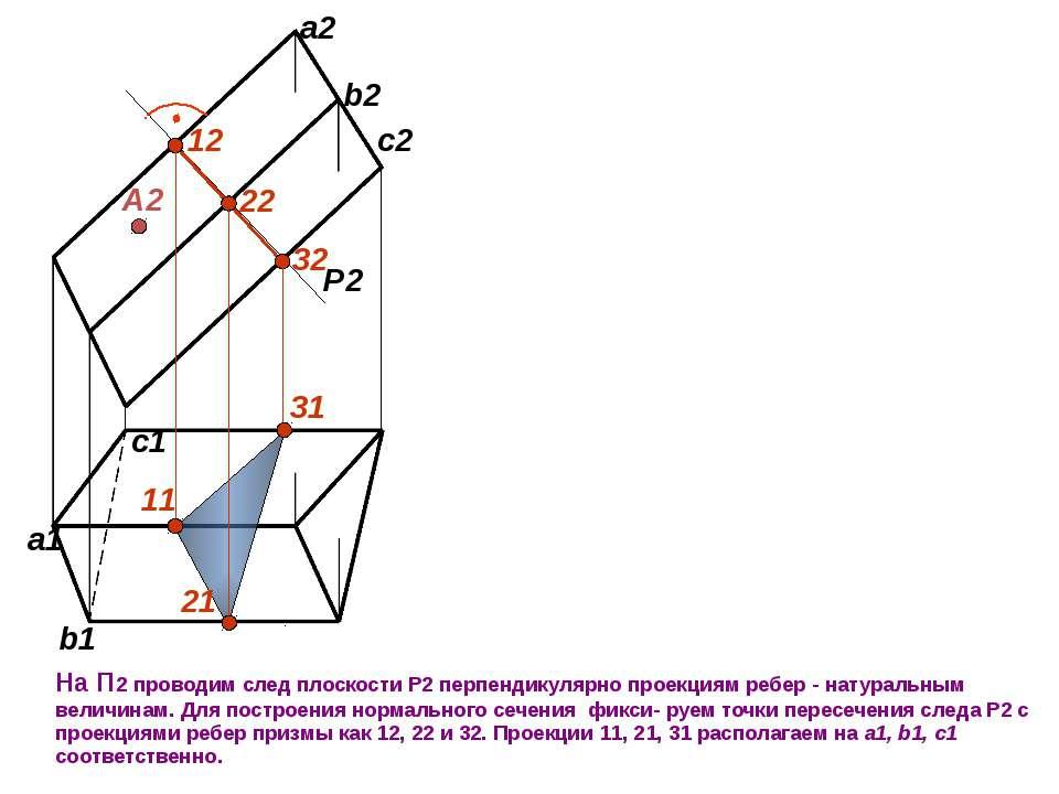 А2 На П2 проводим след плоскости Р2 перпендикулярно проекциям ребер - натурал...