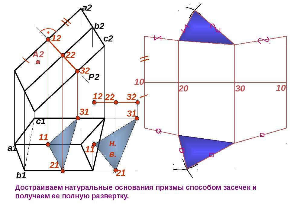 c1 b1 a1 P2 12 22 32 11 31 21 А2 Достраиваем натуральные основания призмы спо...