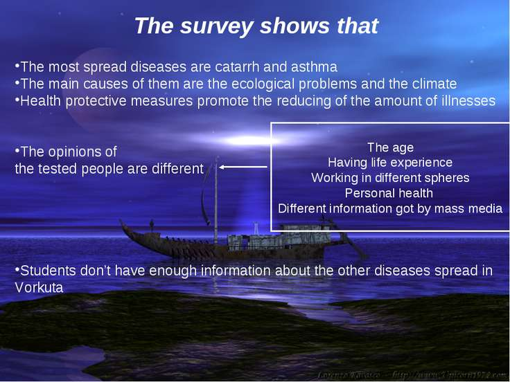 The survey shows that The most spread diseases are catarrh and asthma The mai...
