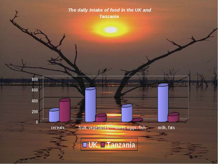 The daily intake of food in the UK and Tanzania