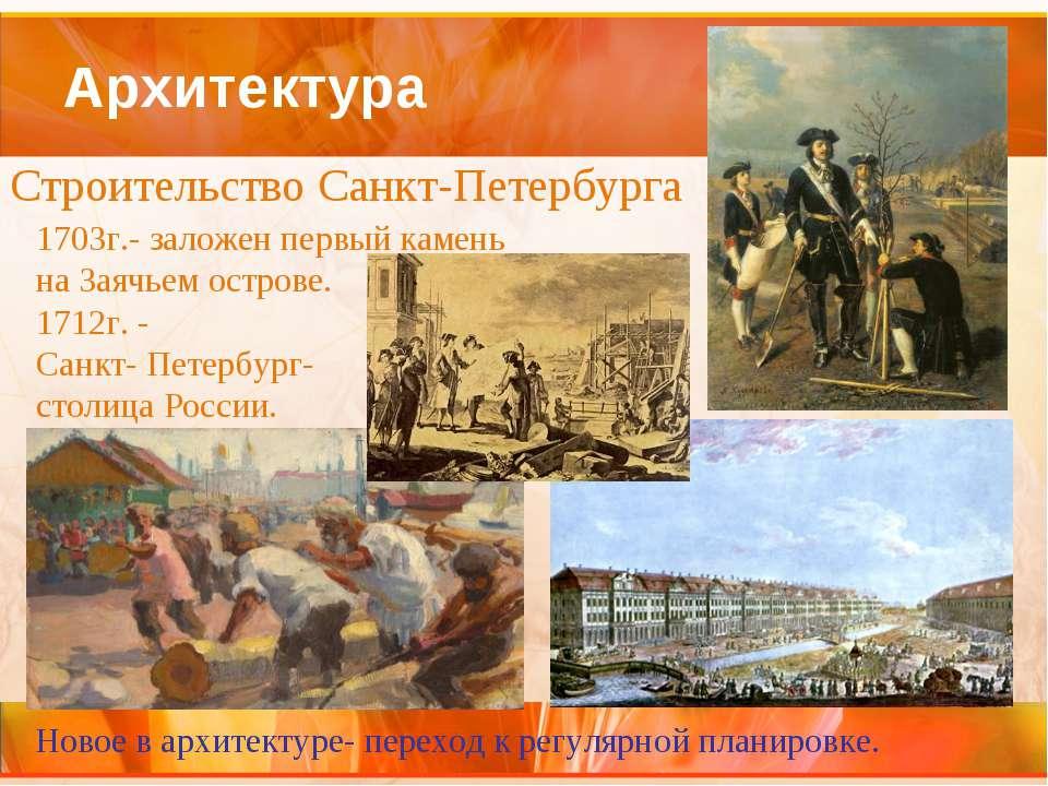 Архитектура Строительство Санкт-Петербурга 1703г.- заложен первый камень на З...