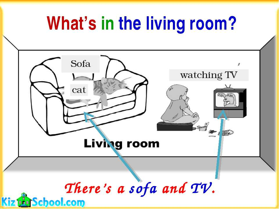 What's in the living room? There's a sofa and TV.