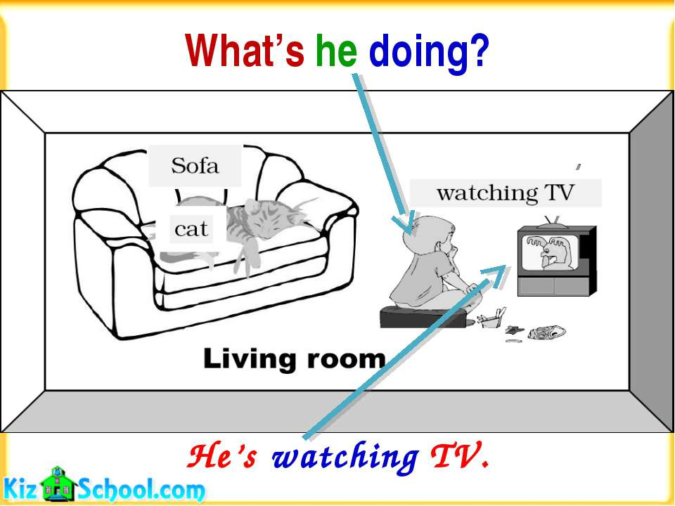 What's he doing? He's watching TV.