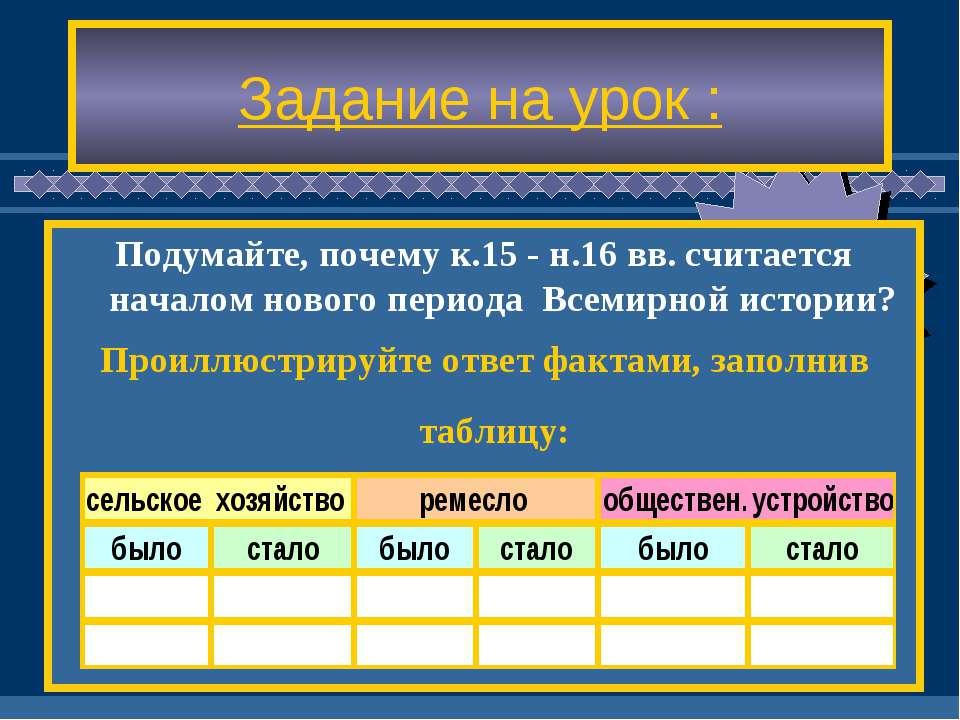 Задание на урок : Подумайте, почему к.15 - н.16 вв. считается началом нового ...