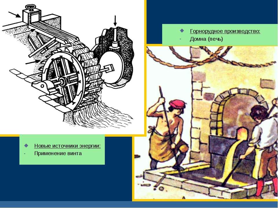 Новые источники энергии: Применение винта Горнорудное производство: Домна (пе...
