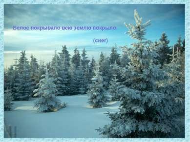 Белое покрывало всю землю покрыло. (снег)