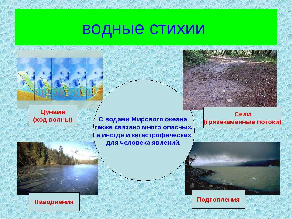 водные стихии С водами Мирового океана также связано много опасных, а иногда ...