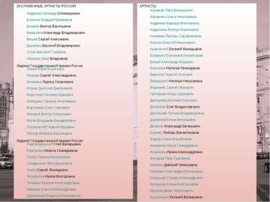 ЗАСЛУЖЕННЫЕ АРТИСТЫ РОССИИ Андреева Зинаида Еливкерьевна Блохина Клавдия Ефим...