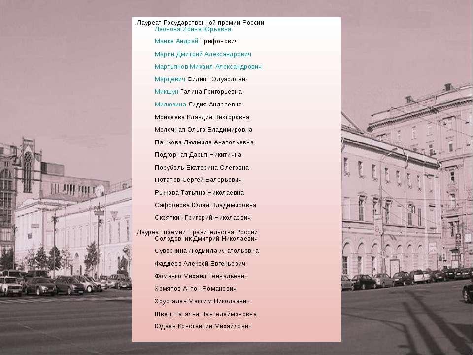 Лауреат Государственной премии России Леонова Ирина Юрьевна Манке Андрей Триф...