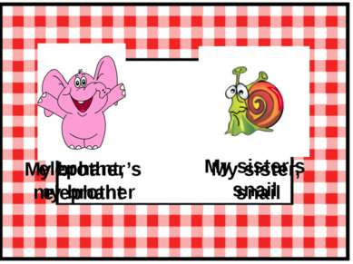 elephant, my brother My brother's elephant My sister, snail My sister's snail