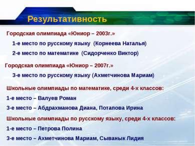 Результативность Городская олимпиада «Юниор – 2003г.» 1-е место по русскому я...