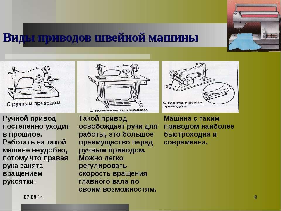 * * Виды приводов швейной машины Ручной привод постепенно уходит в прошлое. Р...