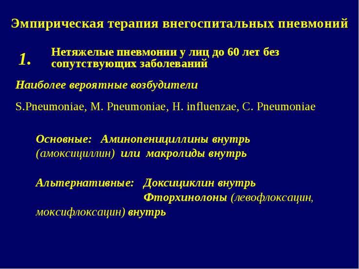 Эмпирическая терапия внегоспитальных пневмоний Нетяжелые пневмонии у лиц до 6...