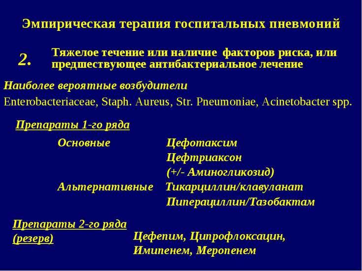 Эмпирическая терапия госпитальных пневмоний Тяжелое течение или наличие факто...