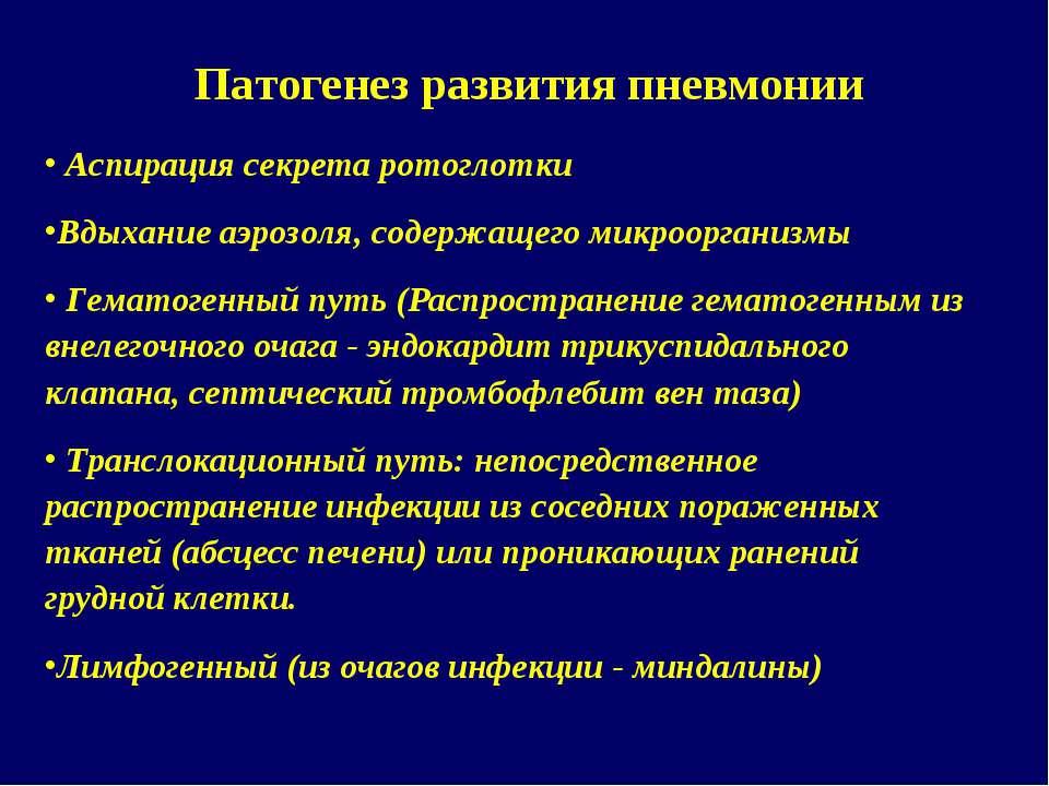 Патогенез развития пневмонии Аспирация секрета ротоглотки Вдыхание аэрозоля, ...