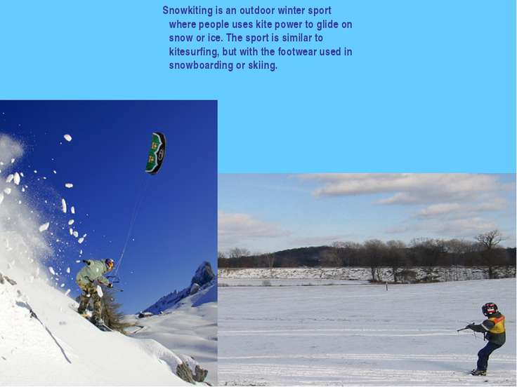 Snowkiting is an outdoor winter sport where people uses kite power to glide o...