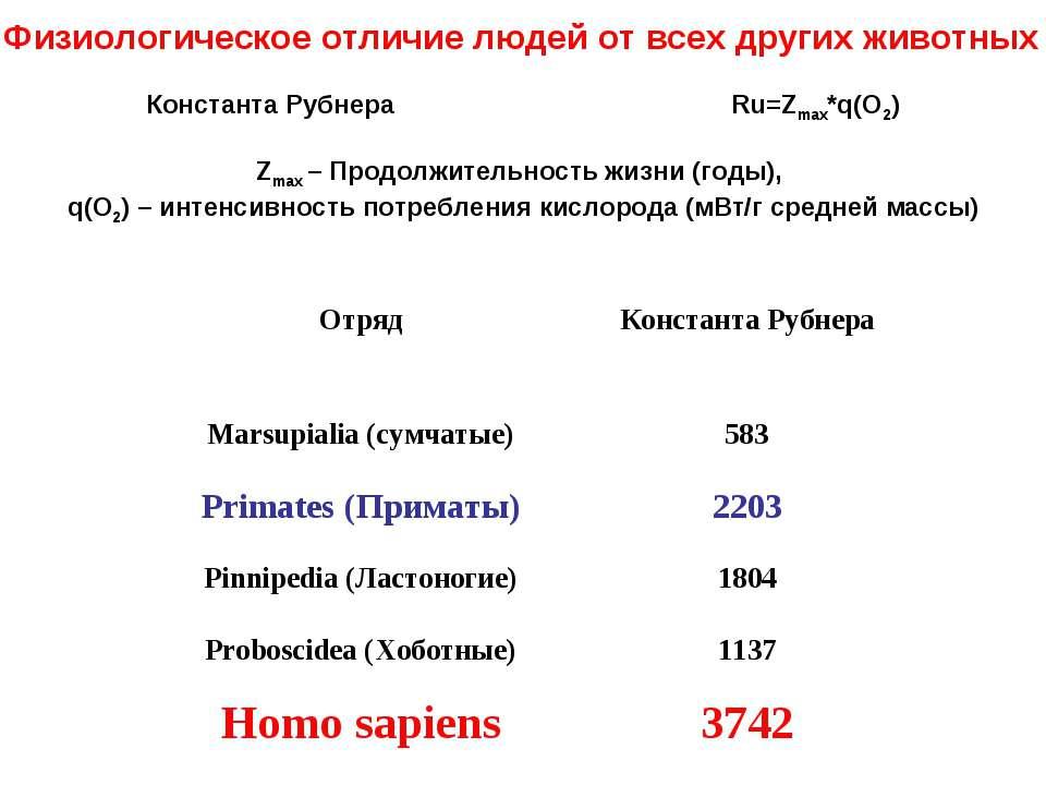 Физиологическое отличие людей от всех других животных Константа Рубнера Ru=Zm...