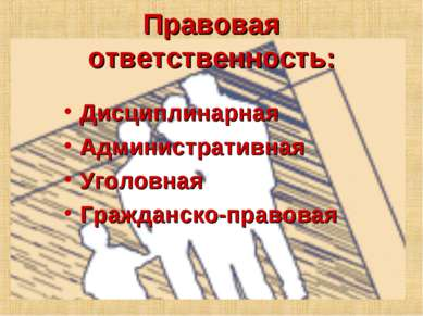 Правовая ответственность: Дисциплинарная Административная Уголовная Гражданск...