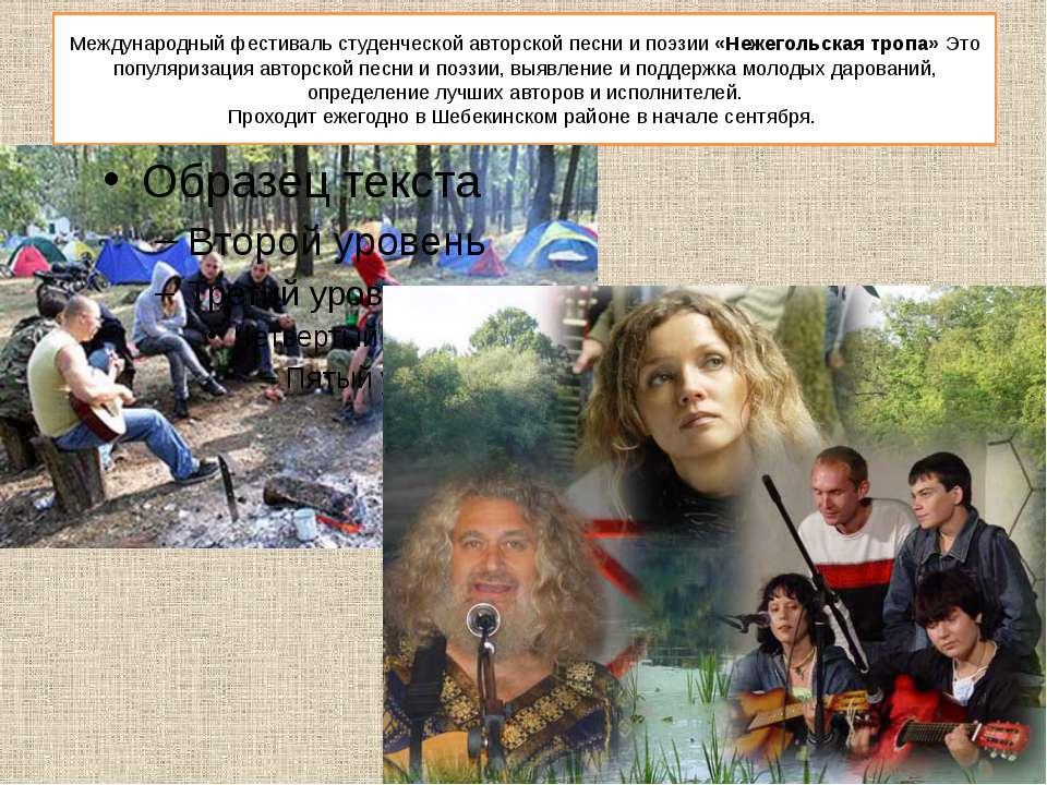 Международный фестиваль студенческой авторской песни и поэзии «Нежегольская т...