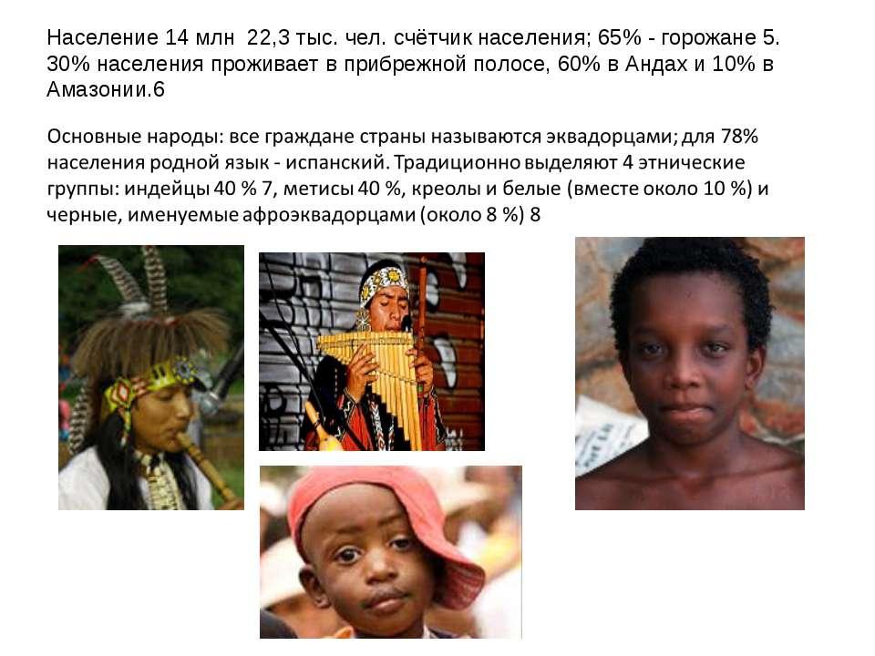 Население 14 млн 22,3 тыс. чел. счётчик населения; 65% - горожане 5. 30% насе...
