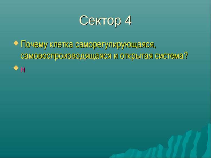 Сектор 4 Почему клетка саморегулирующаяся, самовоспроизводящаяся и открытая с...