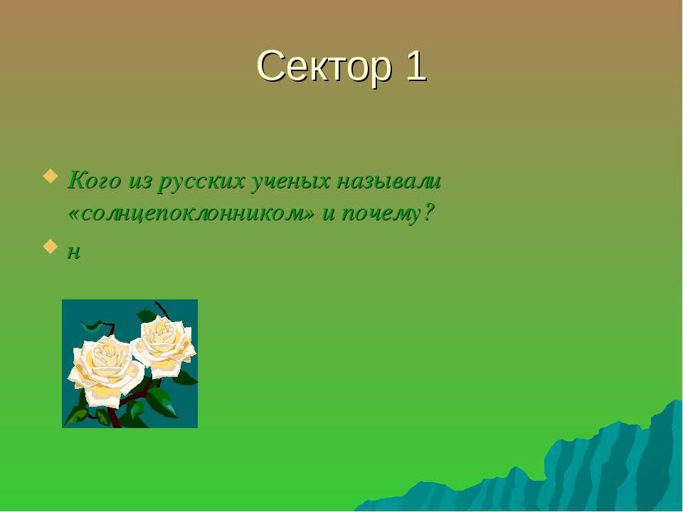 Сектор 1 Кого из русских ученых называли «солнцепоклонником» и почему? н