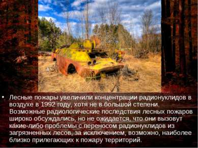 Лесные пожары увеличили концентрации радионуклидов в воздухе в 1992 году, хот...