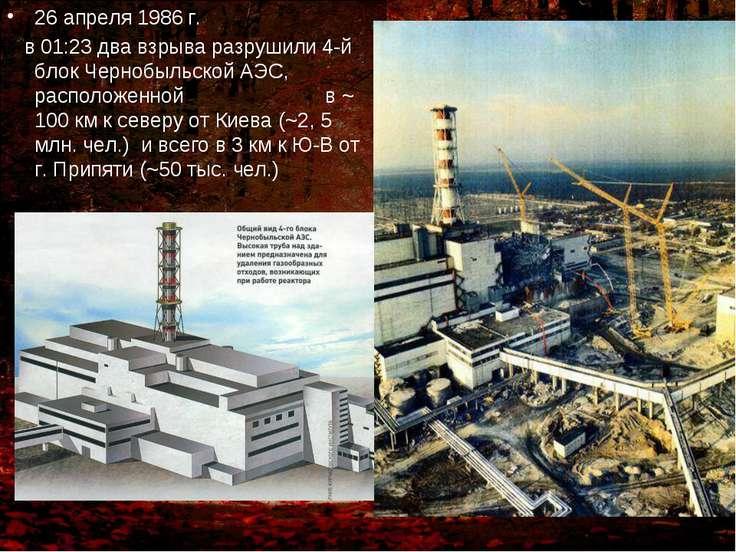 26 апреля 1986 г. в 01:23 два взрыва разрушили 4-й блок Чернобыльской АЭС, ра...