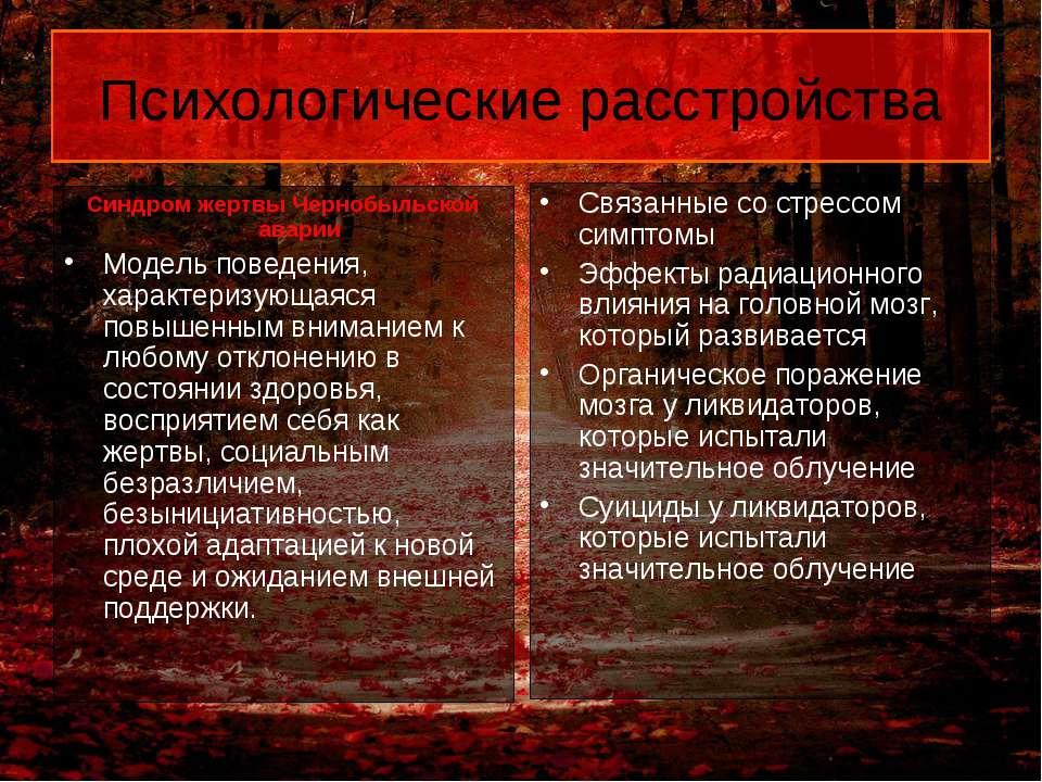 Психологические расстройства Синдром жертвы Чернобыльской аварии Модель повед...