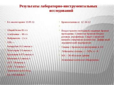 Результаты лабораторно-инструментальных исследований Б/х анализ крови: 13.05....