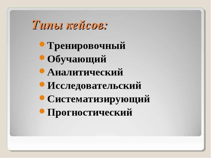 Типы кейсов: Тренировочный Обучающий Аналитический Исследовательский Системат...
