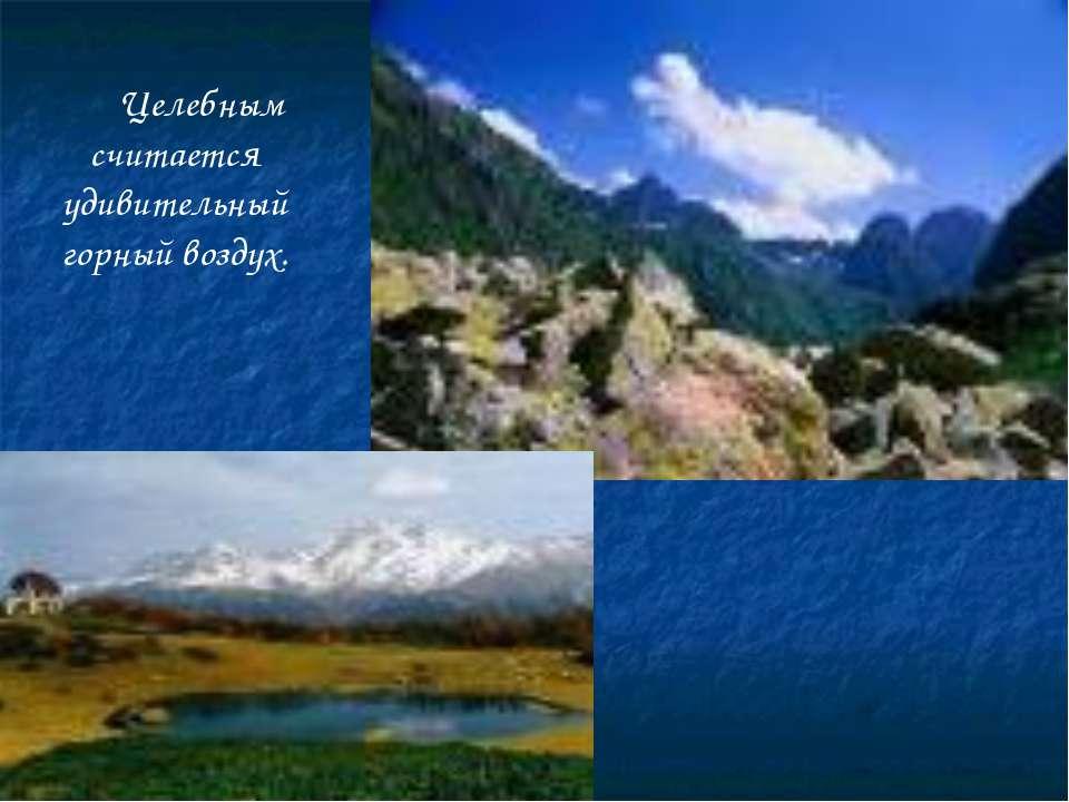 Целебным считается удивительный горный воздух.