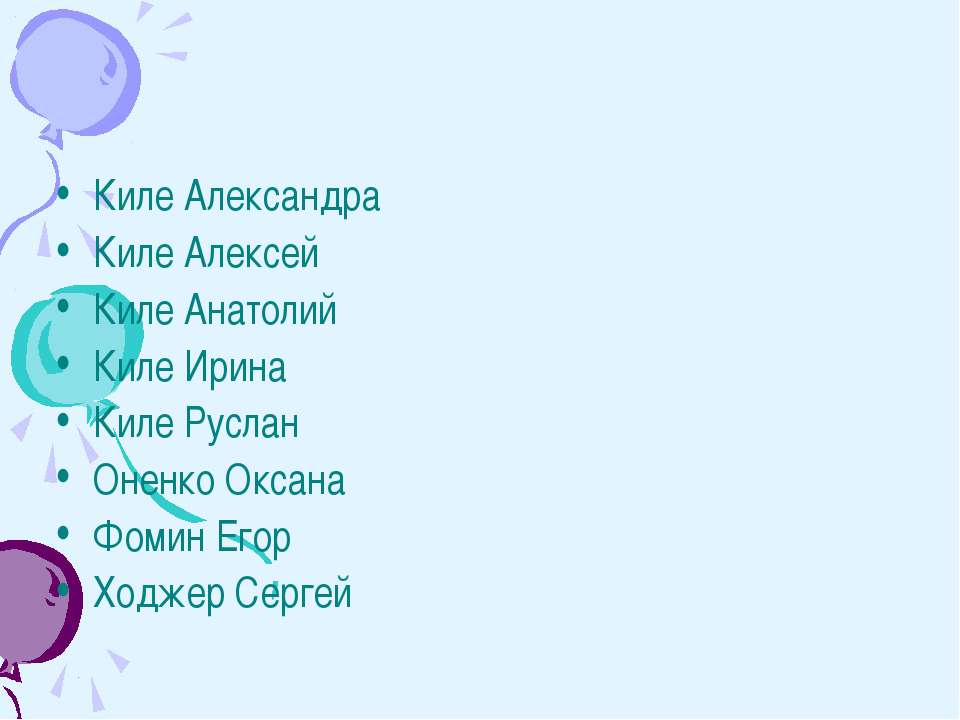 Киле Александра Киле Алексей Киле Анатолий Киле Ирина Киле Руслан Оненко Окса...