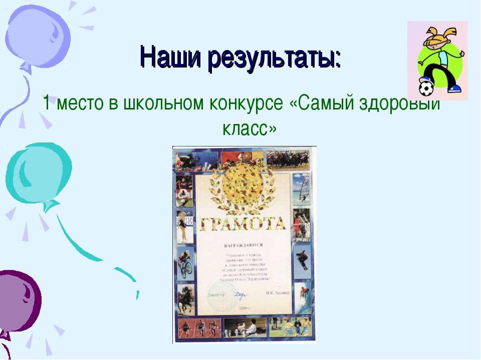 Наши результаты: 1 место в школьном конкурсе «Самый здоровый класс»