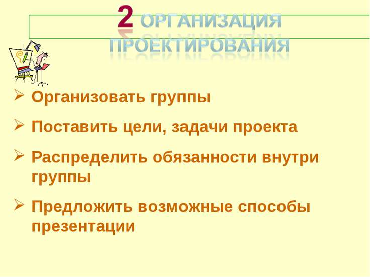 Организовать группы Поставить цели, задачи проекта Распределить обязанности в...