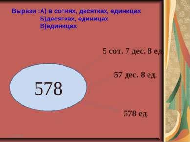 * * 578 5 сот. 7 дес. 8 ед. 57 дес. 8 ед. 578 ед. Вырази :А) в сотнях, десятк...