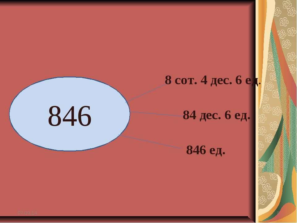 * * 846 8 сот. 4 дес. 6 ед. 84 дес. 6 ед. 846 ед.
