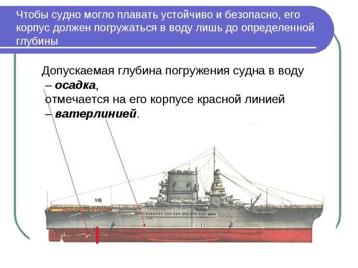 Чтобы судно могло плавать устойчиво и безопасно, его корпус должен погружатьс...
