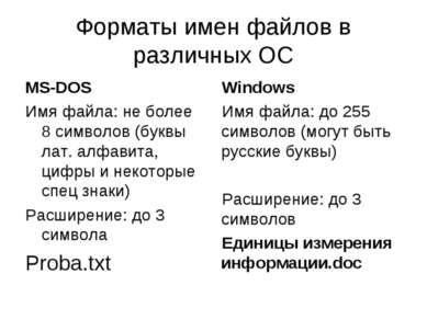 Форматы имен файлов в различных ОС MS-DOS Имя файла: не более 8 символов (бук...
