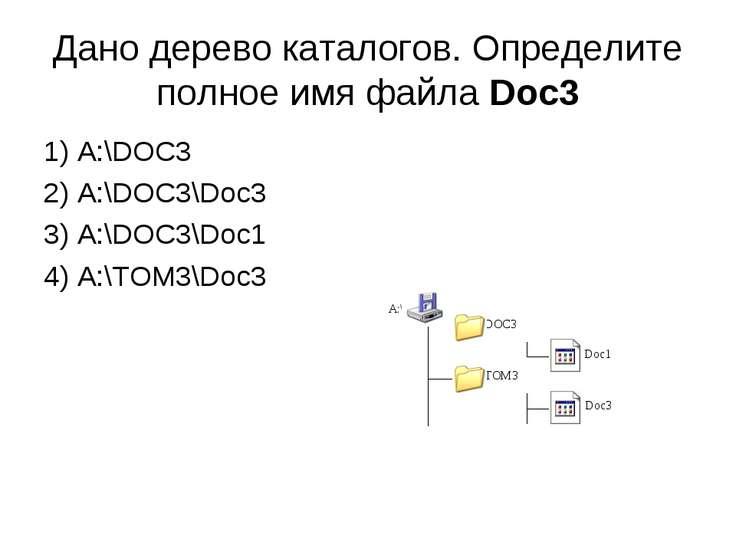 Дано дерево каталогов. Определите полное имя файла Doc3 1) A:\DOC3 2) A:\DOC3...