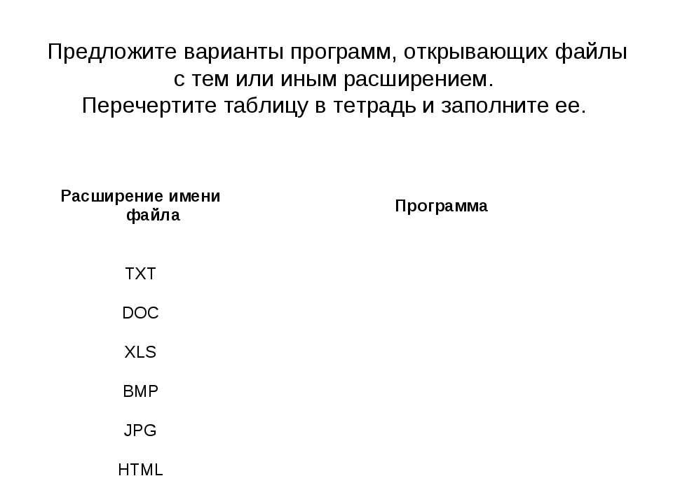 Предложите варианты программ, открывающих файлы с тем или иным расширением. П...
