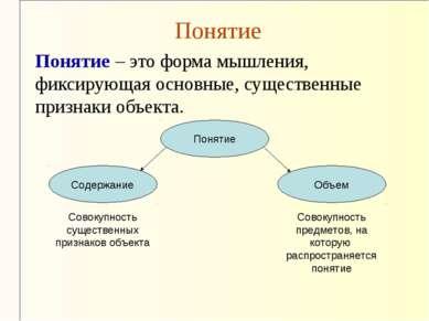 Понятие Понятие – это форма мышления, фиксирующая основные, существенные приз...