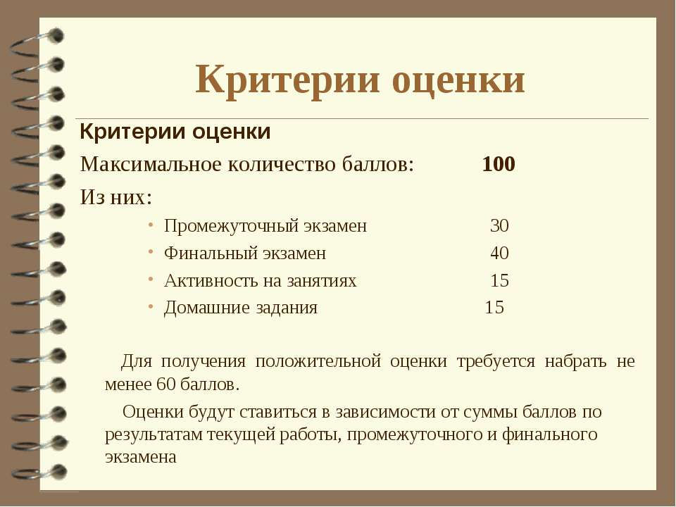 Критерии оценки Критерии оценки Максимальное количество баллов: 100 Из них: П...