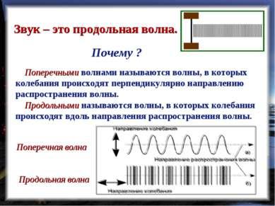 Звук – это продольная волна. Поперечными волнами называются волны, в которых ...