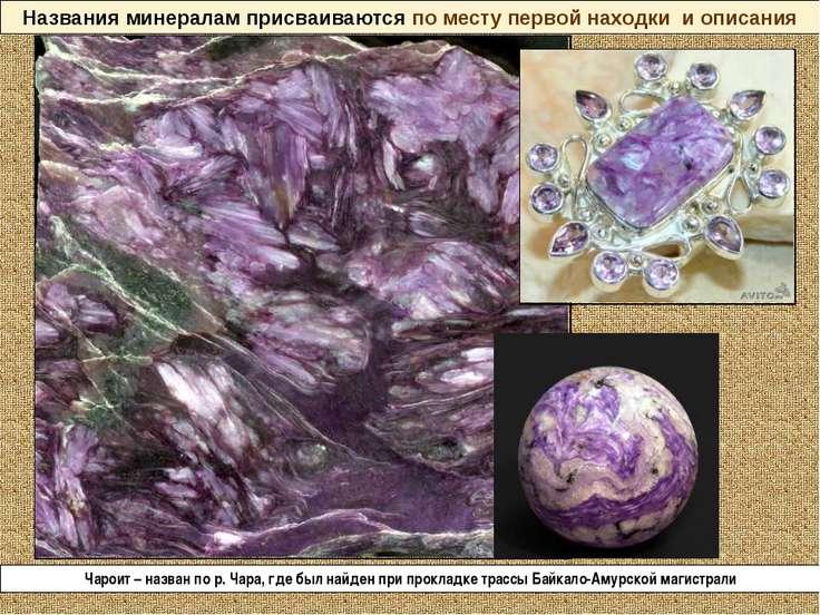 Названия минералам присваиваются по месту первой находки и описания Чароит – ...