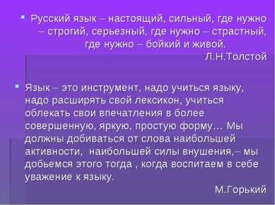 Русский язык – настоящий, сильный, где нужно – строгий, серьезный, где нужно ...