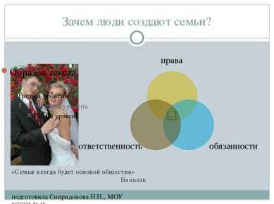 """Зачем люди создают семьи? подготовила Спиридонова Н.Н., МОУ """"СОШ №4"""" «Семья в..."""
